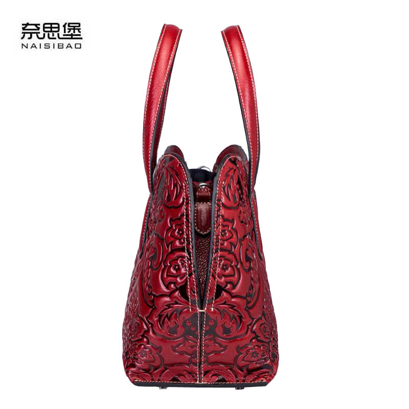 NAISIBAO Women bag 2019 New genuine leather bag high quality leather embossing fashion tote women handbags shoulder bag in Top Handle Bags from Luggage Bags
