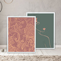 Abstract Line Draw Woman Prints Abstract Face Poster Nordic Red and Green Style Poster Canvas Painting Wall Art Picture Decor