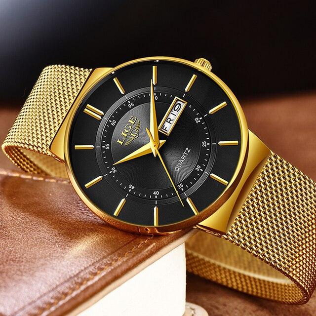 2020 LIGE nouveaux hommes montres haut de gamme de luxe Ultra mince Quartz montre hommes en acier maille bracelet étanche or montre Relogio Masculino