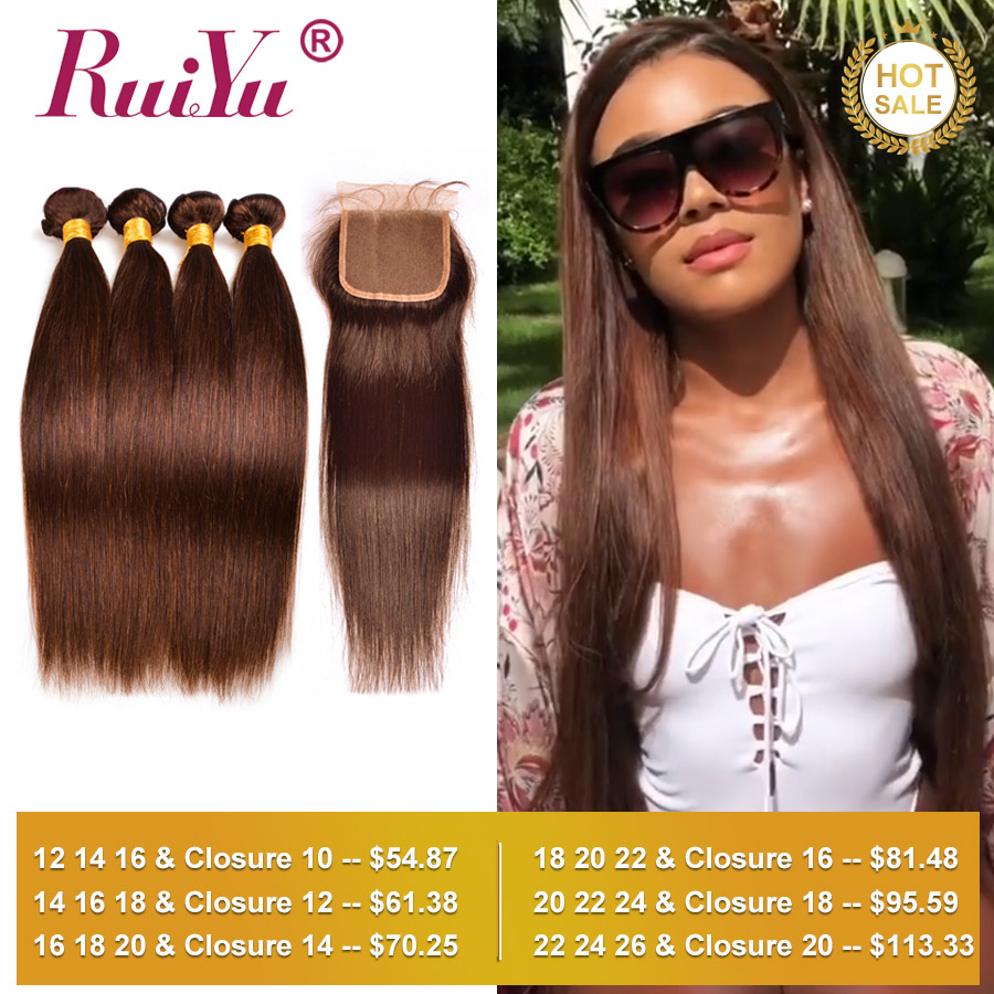 Human Hair Bundles With Closure Straight Hair Bundles With Closure Brazilian Hair Weave Bundles With Closure RUIYU Non-Remy Hair