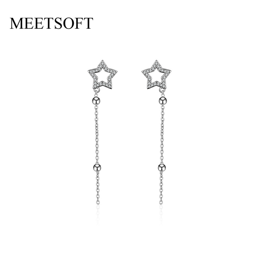 MEETSOFT Silver Plated Prevent Allergy Fashion Drop Earrings for Women Trendy Hollow Out Star Long Chain Crystal Jewelry Gift