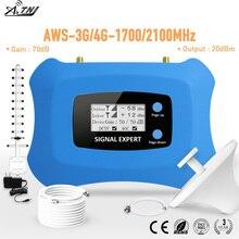 AMPLIFICADOR DE señal móvil repetidor inteligente 3G 4G para América amplificador de teléfono móvil con yagi y kit de antena de techo