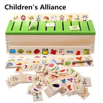 цена Montessori Early Educational Puzzles Toys Children Intelligence Learning Puzzle Wooden Creature 3D Kids Sorting Math Puzzle онлайн в 2017 году
