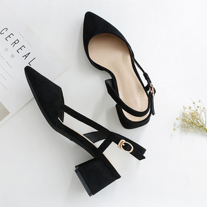 Image 3 - 2020 Hot Shoes Woman 4.5CM Square High Heels Slingbacks Faux Suede Point Toe Women Office Lady Solid Sandals Female Wedding Shoe