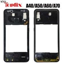 Carcasa frontal para Samsung A40, A50, A60, A70, A405F, A505F, A606F, A705F, Marco LCD, placa trasera, carcasa trasera