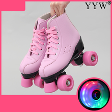 Roller-Skates Patines 4-Wheels Pink Adult Women Double-Line Black Pu Artificial