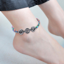 Magnetic black stone ladies anklet bracelet rainbow health lady magnetic therapy summer charm beach jewelry