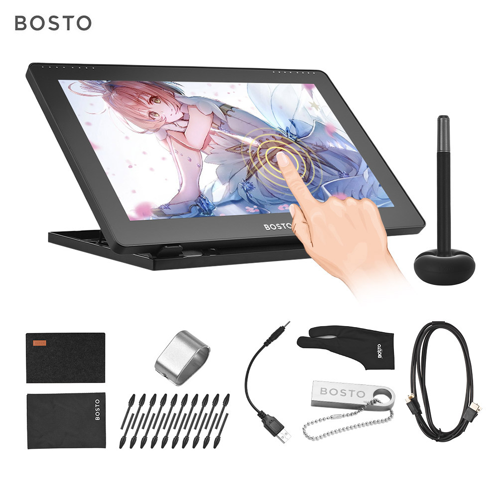 BOSTO 16HD 15.6 Inch IPS Graphics Drawing Digital Tablets Display Monitor 8192 Pressure Level With Rechargeable Stylus Pen