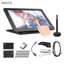 BOSTO 16HD 15.6 inç IPS grafik çizim dijital tablet ekran monitör 8192 basınç seviyesi şarj edilebilir Stylus kalem ile