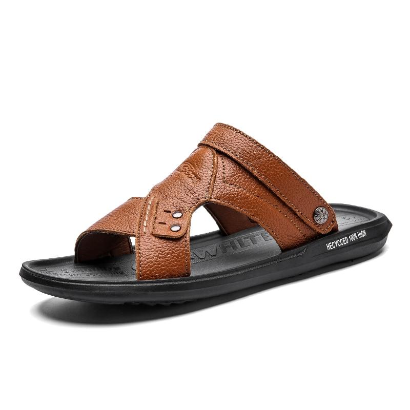 2020 New Men Sandals Genuine Leather Lightweight Men Slippers Summer Beach Sandal Leather Lightweight Flat Rubber Wear-resistant