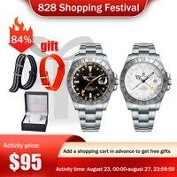Pagani diseño superior de los hombres de la marca mecánico automático Reloj con cristal de zafiro de acero inoxidable 200m impermeable GMT relojes Reloj Hombre