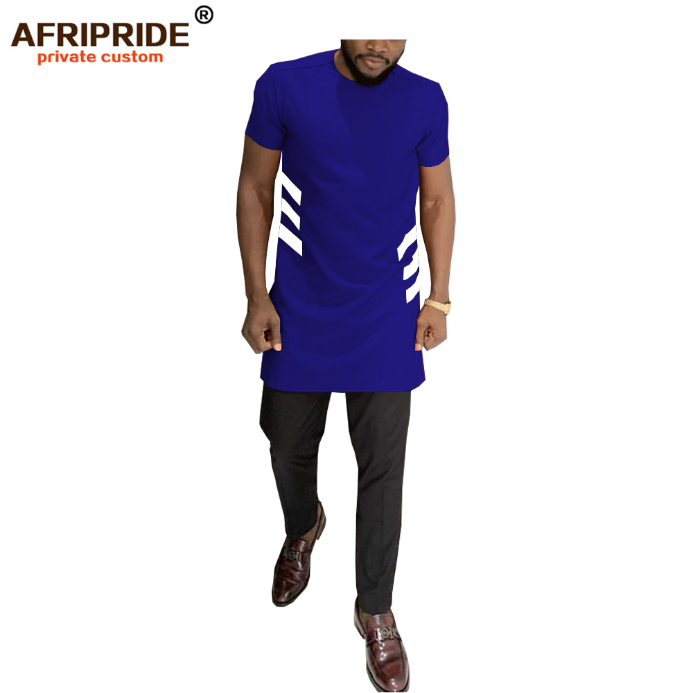<font><b>african</b></font> <font><b>men's</b></font> casual <font><b>shirt</b></font> AFRIPRIDE tailor made short sleeves o-neck long side split <font><b>shirt</b></font> 100% africa <font><b>wax</b></font> cotton A1912006 image