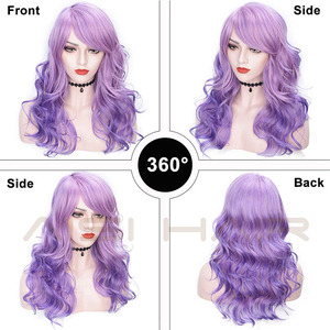 Image 3 - AISI HAIR 22 Synthetic Wigs with Bangs Long Wavy Purple Pink Hair Mix Color Women Wigs Heat Resistant Hair Grey Cosplay Wig