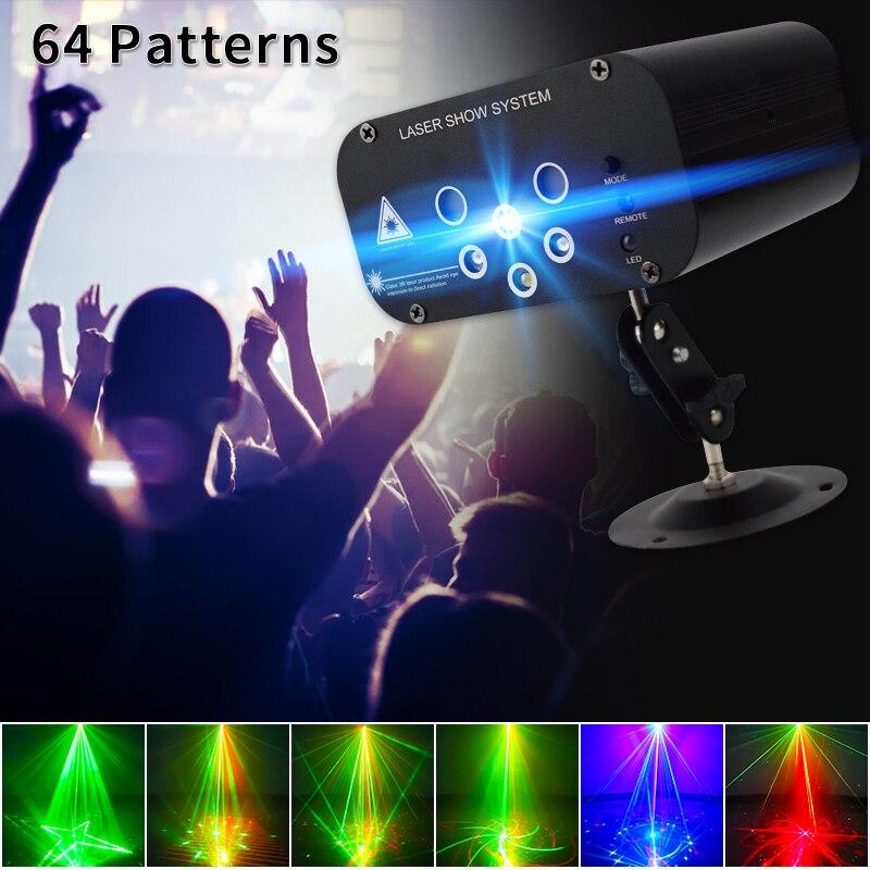 Лазерный прожектор YSH, лампа с 64 узорами для диджея, дискотеки, музыки, сценическое освещение RGB для рождества, домашней вечеринки KTV