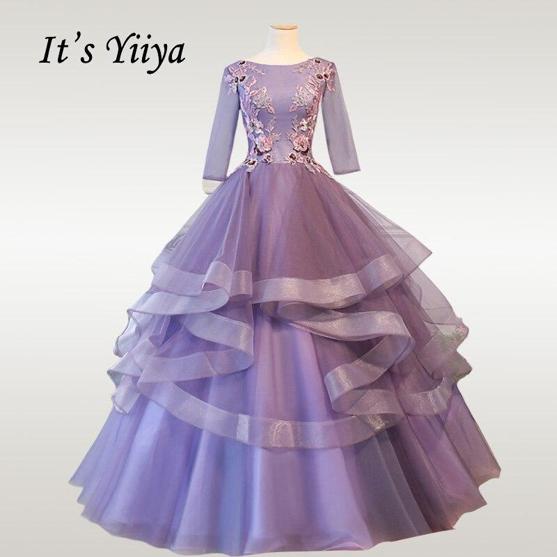 It's YiiYa Wedding Dress Luxury Purple Tiered Long Wedding Dresses Elegant Plus Size Three Quarter Sleeve Robe De Mariee CH077