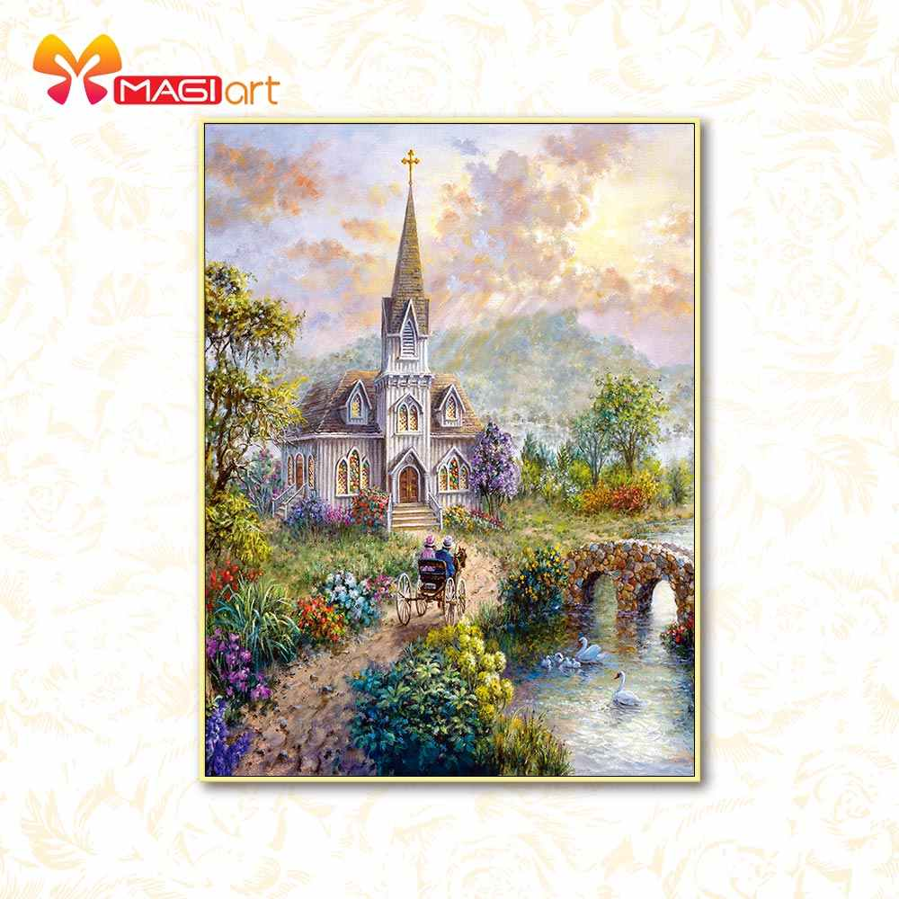 Kruissteek Kits Borduren Handwerken Sets 11CT Water Oplosbare Canvas Patronen 14CT Kasteel Scenery-NCMS058