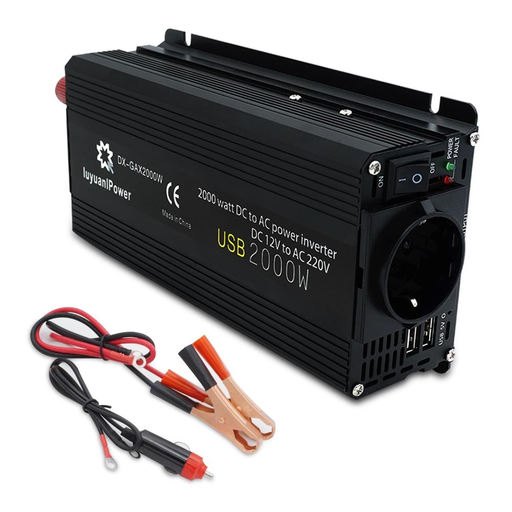 Автомобильный инвертор, 12 В, 220 В, мощность 500 Вт/1500 Вт/2000 Вт, преобразователь, 2 USB разъема ЕС, Webasto, 12 Вольт, Автомобильные инверторы 12 В, 220 В, тра...