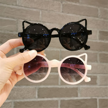 1pcs Cute Red Cat Ear Kids Sunglasses Girls Pink Purple White Children Glasses Baby Boys Fashion Round Eyeglasses Party Outdoor