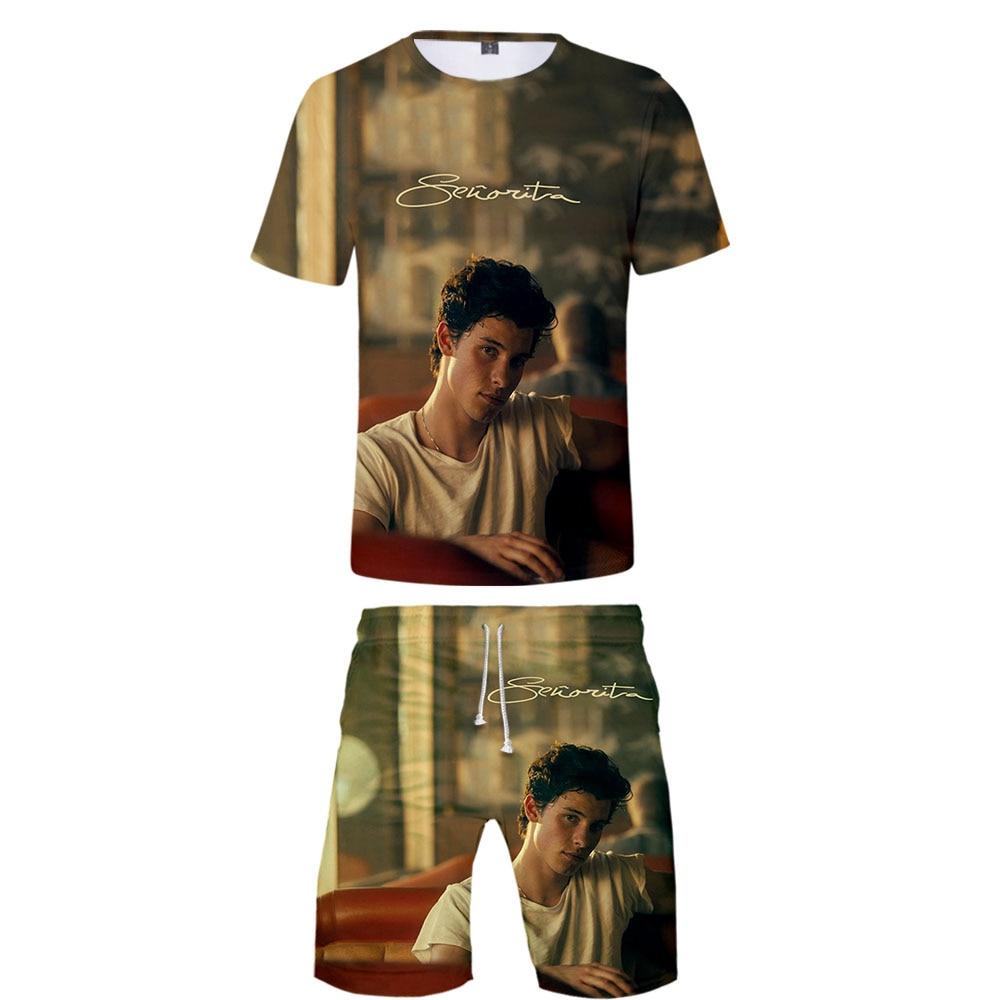 Senorita Camila Cabello & Cool Shawn Mendes 3D Cool Fashion Style Harajuku Streetwear Two Piece Sets Summer Tshirt+shorts Sets