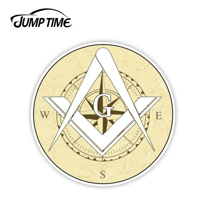 Jump Time 13cmx13cm Masonic Free Mason Compass Vinyl Decal Sticker Car Truck Temple Freemason Window Laptop Wall Car Accessories