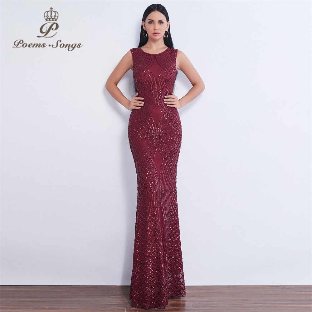 Gedichten liedjes nieuwe stijl avondjurk Snoep kleur mermaid formele jurk Lovertjes vestidos de festa longo mouwloze avondjurk