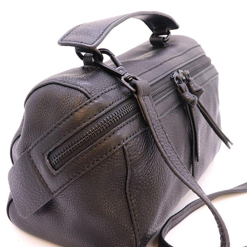 Mesoul 100% sac à main en cuir véritable femmes sac à bandoulière Portable femme mode sacs à bandoulière dames fermeture éclair petit sac fourre-tout sac à main - 5