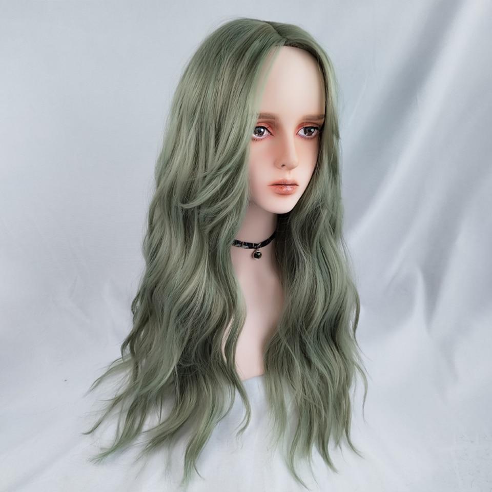 Парик AILIADE для косплея Женский, Синтетические длинные волнистые розовые зеленые термостойкие волосы из волокна, парик в Стиле Лолита
