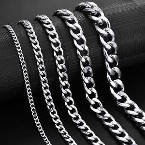 Jiayiqi Link Choker Curb Chain Necklace Men Stainless-Steel Jewelry Filled Female 3-11mm
