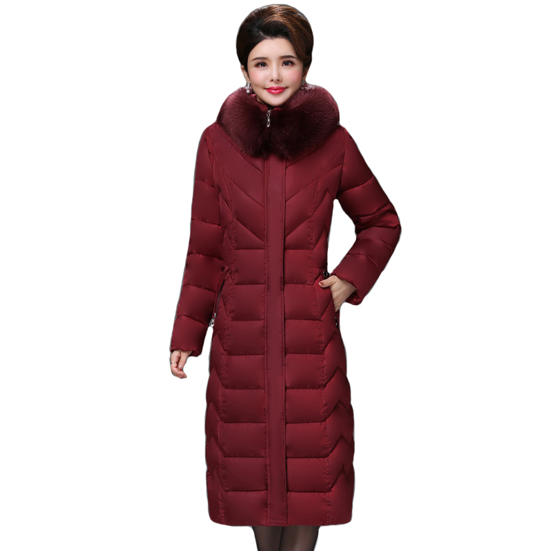 2019 High Quality Winter Jacket Women X-long Warm Thicken Female   Down     Coat   Plus Big Size 5XL 6XL Padded Parka Parkas
