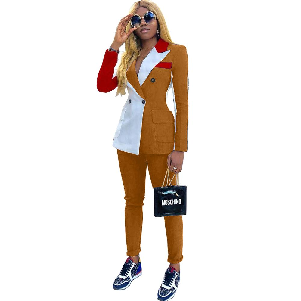 >2020 New Spring Women's Tracksuit Notched Full Sleeve Blazers Pants Suit Two Piece <font><b>Casual</b></font> Fashion <font><b>Outfit</b></font> Patchwork <font><b>Color</b></font> Uniform