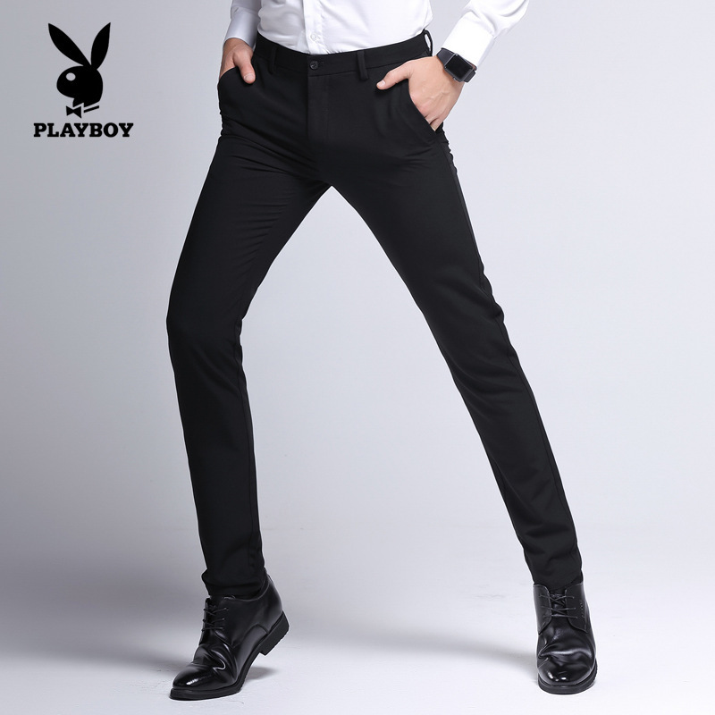 PLAYBOY Men Business Casual-Pure Cotton Elasticity Straight-Cut Casual Trousers Suit Pants Mid-rise Pants Men's