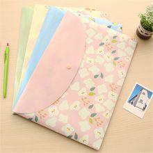 A4 File Folder-Bag Document-Folder Closure Office Plastic Cute Button 2pcs Flowers Fresh-Style