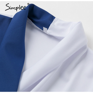 Image 5 - Simplee Deep v neck patchwork women blouse shirt Casual long sleeve top Spring summer office ladies elegant blouse jujer blusa