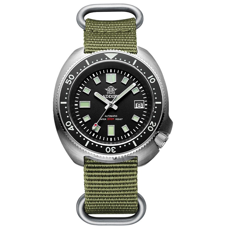 1970 Abalone Dive Watch 200m Sapphire crystal calendar NH35 Automatic Mechanical Steel diving Men's watch 10