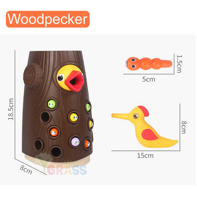 Crianças pegar bugs brinquedos funny woodpecker jogo ímã pesca iinsect piadas cedo brinquedo educativo para crianças