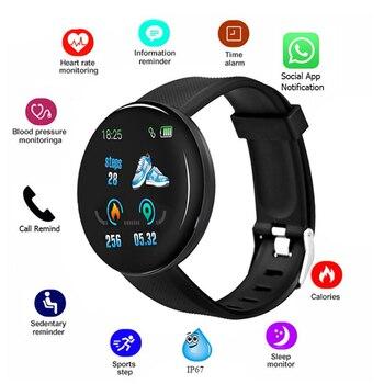 D18 Round Screen Smart Watch Blood Pressure Blood Oxygen Heart Rate Monitor Wristband Fitness Tracker Smart Bracelet Waterproof