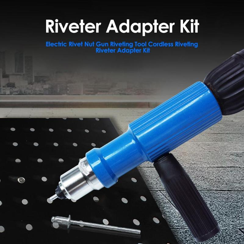 Electric Rivet Nut Gun Insert Nut Riveting Tool No Skidding Quick Back Nail Riveting Firm Cordless Riveting Drill Adapter