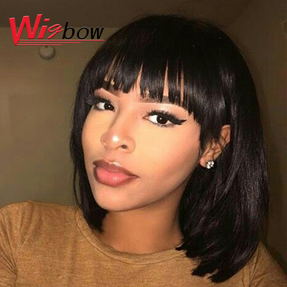 Red Human Hair Bob Wig 99j Ombre Colored Brazilian Remy Hair Wig 180 Density Blunt Cut Bob Wigs For Women Fast Shipping Wig