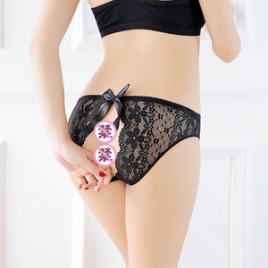 Sexy Lingerie for Women Erotic Costumes Hot Porno Free Removal Lace Short Open Crochless Sexy Panties Women See Through Shorts