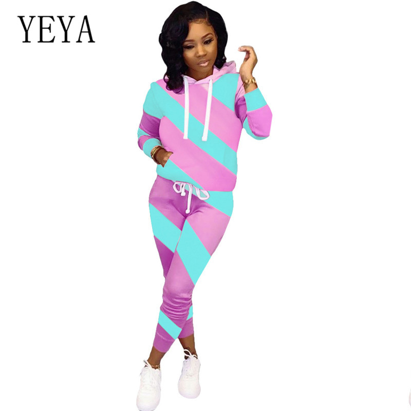 YEYA Jumpsuits for Women Elegant Two-color Stitching Bodycon Bandage Playsuits Long Sleeve Hoodies 2 Pieces Sets Retro Overalls