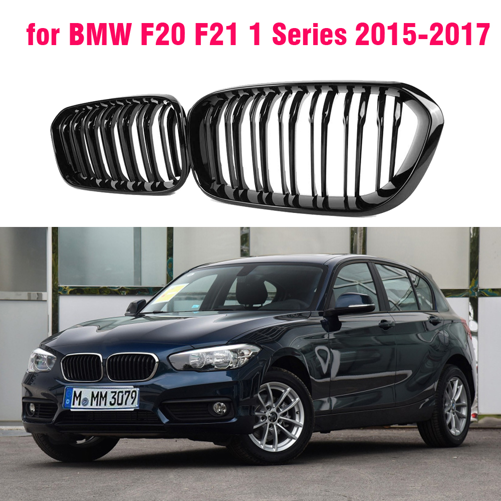 For BMW F20 F21 1 Series 2015 2016 2017 1 Pair Gloss Matt Black Double Slat Line M Color Front Racing Grille Kidney Grille image