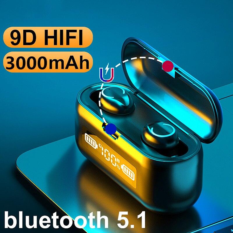 Новые IPX7 водонепроницаемые спортивные TWS Беспроводные наушники с шумоподавлением, музыкальные наушники Bluetooth 5,1 9D, глубокие басы, наушники 5H...