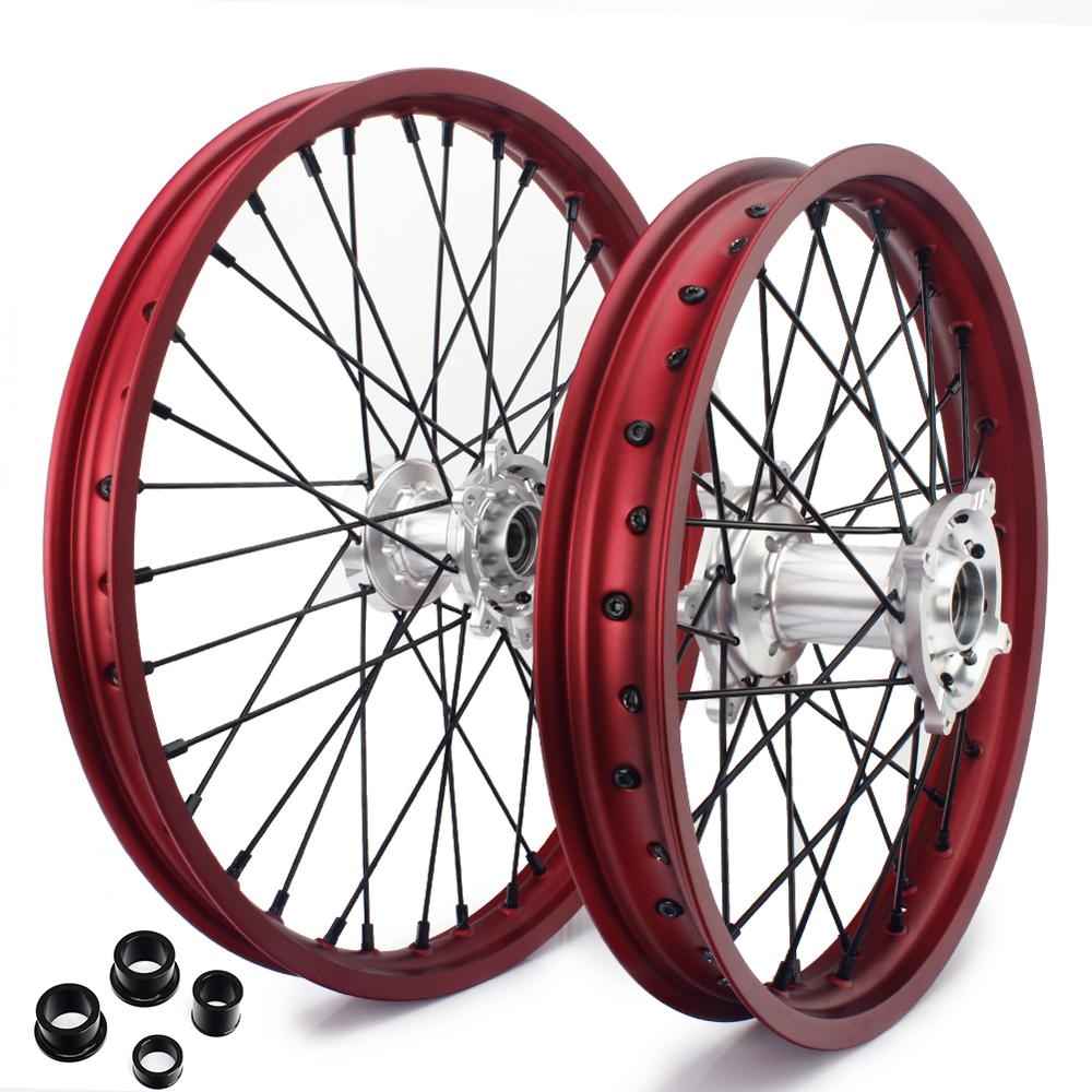 BIKINGBOY 21 19 MX Front Rear Wheel Rims Hubs Sets For Honda CRF 250 R 2004 2013 CRF 450 R 2002 2012 CR 125 250 R 2002 2013