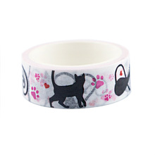 2pcs/lot Black Cat Animal Washi Tape Color Paper Adhesive Diary Hand Account Decorative Sticker Office Glassine AT2930