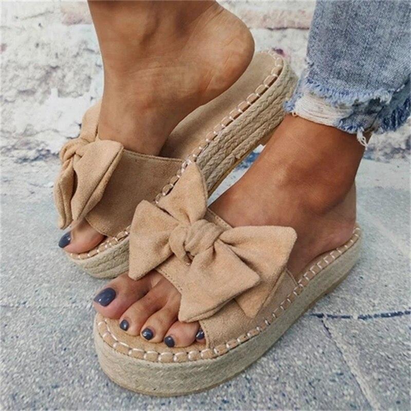 Sandales avec nœud papillon pour femmes, chaussures pour la plage, chaussures à plateforme, robe de soirée, bout ouvert, 2020, décontracté
