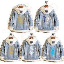 Распродажа, джинсовая куртка «атака на Титанов», джинсовая куртка для косплея разведчика, джинсовая куртка, Осень зима