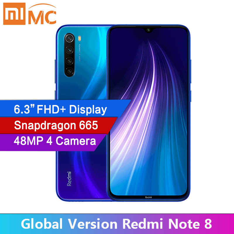 "Global Version Xiaomi Redmi Note 8 48MP 4 Cameras 4GB RAM 64GB/128GB Smartphone Snapdragon 665 Octa Core 6.3"" FHD Mobile phone(China)"