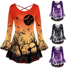 Women Halloween Flare Sleeve Punpkin Cat Print T Shirt Tops Girl O-Neck Solid Tee Female Plus Size NEW Fashion