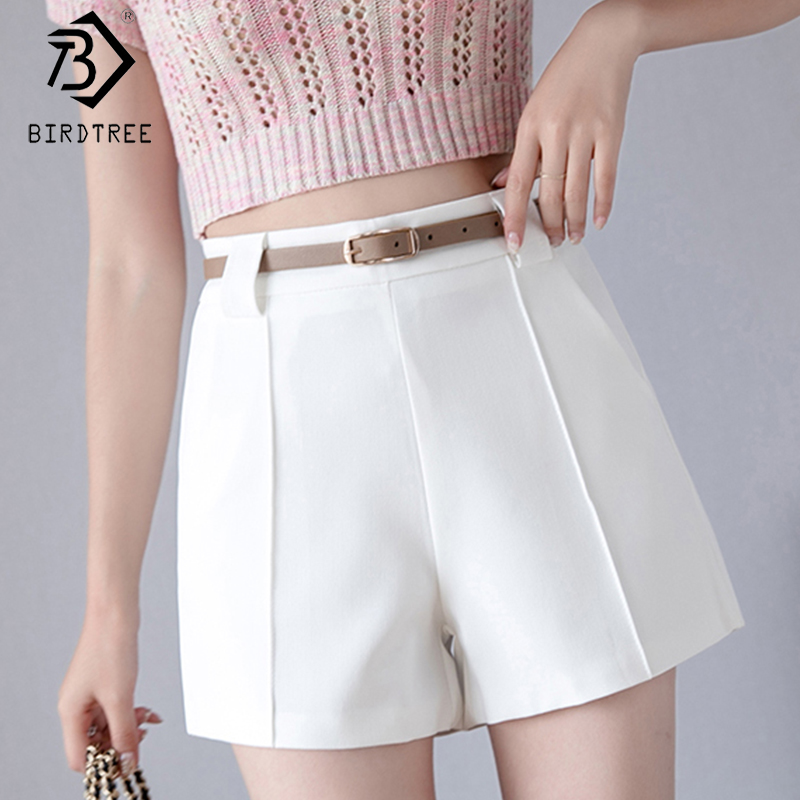 2020 Spring And Summer New Women's Office Lady Shorts With Sashes Fashion High Waist Wide Leg Shorts Female Bottoms B01404O