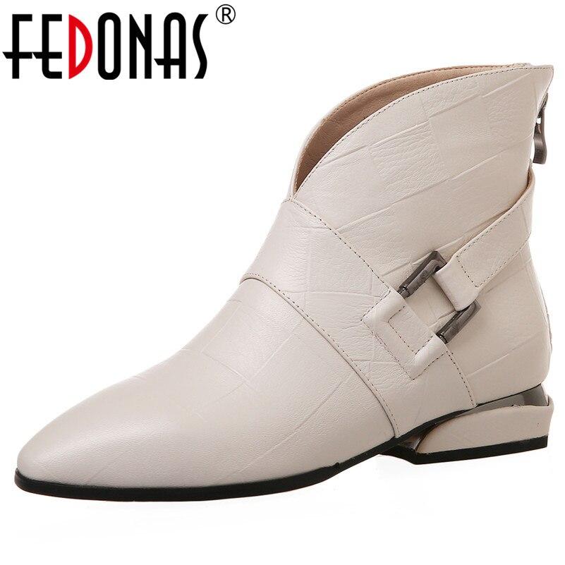 Fedonas 여성 우아한 짧은 부츠 품질 정품 가죽 여성 발목 부츠 파티 댄스 신발 여성 빅 사이즈 첼시 부츠-에서앵클 부츠부터 신발 의  그룹 1
